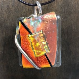 Abstract Dichroic Glass Pendent